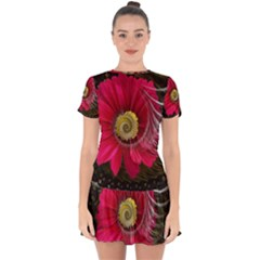 Fantasy Flower Fractal Blossom Drop Hem Mini Chiffon Dress by Celenk
