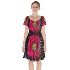 Fantasy Flower Fractal Blossom Short Sleeve Bardot Dress by Celenk