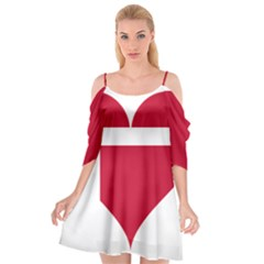 Heart Love Flag Denmark Red Cross Cutout Spaghetti Strap Chiffon Dress by Celenk