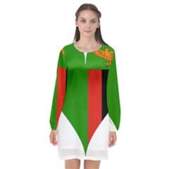 Heart Love Heart Shaped Zambia Long Sleeve Chiffon Shift Dress  by Celenk