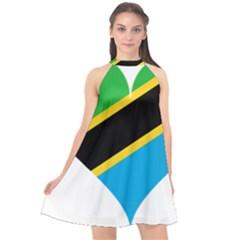 Heart Love Tanzania East Africa Halter Neckline Chiffon Dress  by Celenk