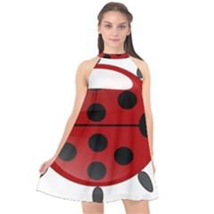 Ladybug Insects Colors Alegre Halter Neckline Chiffon Dress  by Celenk