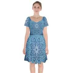 Mandala Floral Ornament Pattern Short Sleeve Bardot Dress by Celenk
