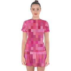 Pink Square Background Color Mosaic Drop Hem Mini Chiffon Dress by Celenk
