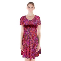 Pattern Background Square Modern Short Sleeve V Neck Flare Dress by Celenk