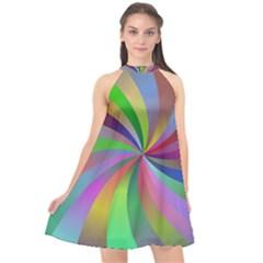 Spiral Background Design Swirl Halter Neckline Chiffon Dress  by Celenk