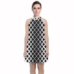 Square Diagonal Pattern Monochrome Velvet Halter Neckline Dress  by Celenk