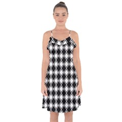 Square Diagonal Pattern Seamless Ruffle Detail Chiffon Dress by Celenk