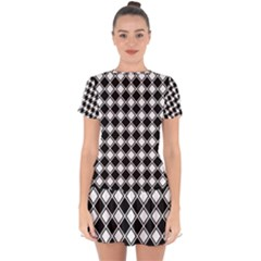 Square Diagonal Pattern Seamless Drop Hem Mini Chiffon Dress by Celenk
