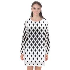 Square Pattern Monochrome Long Sleeve Chiffon Shift Dress