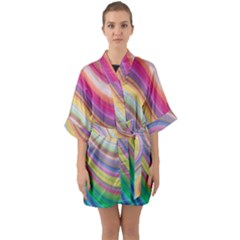 Wave Background Happy Design Quarter Sleeve Kimono Robe by Celenk
