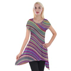 Wave Abstract Happy Background Short Sleeve Side Drop Tunic by Celenk
