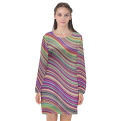 Wave Abstract Happy Background Long Sleeve Chiffon Shift Dress  by Celenk