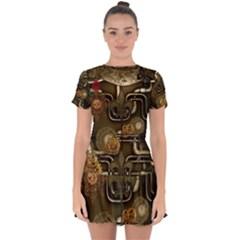 Wonderful Noble Steampunk Design, Clocks And Gears And Butterflies Drop Hem Mini Chiffon Dress by FantasyWorld7