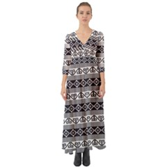 Native American 12 Button Up Boho Maxi Dress by Cveti