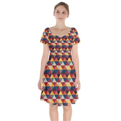 Native American Pattern 16 Short Sleeve Bardot Dress by Cveti