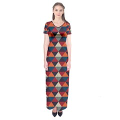Native American Pattern 21 Short Sleeve Maxi Dress by Cveti