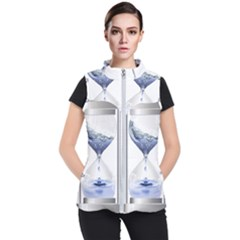 Time Water Movement Drop Of Water Women s Puffer Vest by Celenk