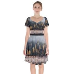 Trees Plants Nature Forests Lake Short Sleeve Bardot Dress by Celenk