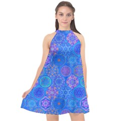 Geometric Hand Drawing Pattern Blue  Halter Neckline Chiffon Dress  by Cveti
