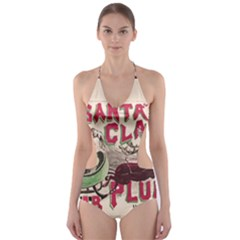 Vintage Santa Claus  Cut Out One Piece Swimsuit by Valentinaart