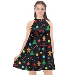 Christmas Pattern Halter Neckline Chiffon Dress  by Valentinaart