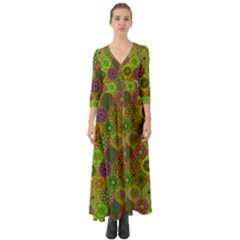 Bohemian Hand Drawing Patterns Green 01 Button Up Boho Maxi Dress by Cveti