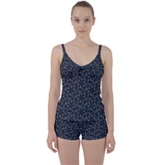 Whirligig Pattern Hand Drawing Grey Tie Front Two Piece Tankini by Cveti
