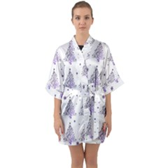 Christmas Tree - Pattern Quarter Sleeve Kimono Robe