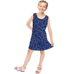 Whirligig Hand Drawing Geometric Pattern Blue Kids  Tunic Dress by Cveti
