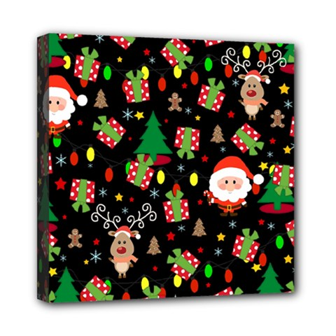 Santa And Rudolph Pattern Mini Canvas 8  X 8