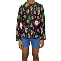 Santa And Rudolph Pattern Kids  Long Sleeve Swimwear by Valentinaart