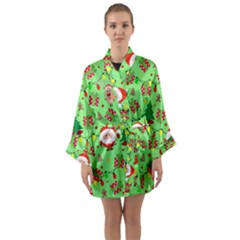 Santa And Rudolph Pattern Long Sleeve Kimono Robe by Valentinaart