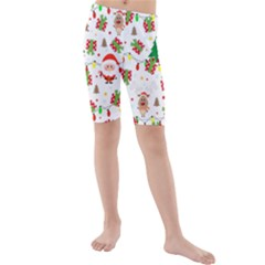 Santa And Rudolph Pattern Kids  Mid Length Swim Shorts by Valentinaart