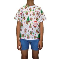 Santa And Rudolph Pattern Kids  Short Sleeve Swimwear by Valentinaart