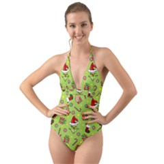 Grinch Pattern Halter Cut Out One Piece Swimsuit by Valentinaart