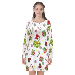 Grinch Pattern Long Sleeve Chiffon Shift Dress  by Valentinaart