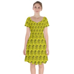 Hexagon Cube Bee Cell  Lemon Pattern Short Sleeve Bardot Dress by Cveti