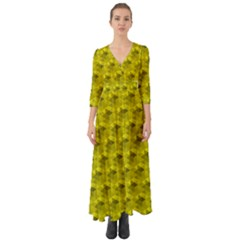 Hexagon Cube Bee Cell  Lemon Pattern Button Up Boho Maxi Dress by Cveti