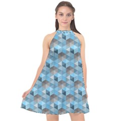 Hexagon Cube Bee Cell  Blue Pattern Halter Neckline Chiffon Dress  by Cveti