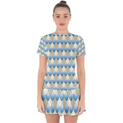 Squama Fish Blue Pattern Drop Hem Mini Chiffon Dress by Cveti