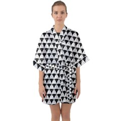 Diamond Pattern White Black Quarter Sleeve Kimono Robe by Cveti