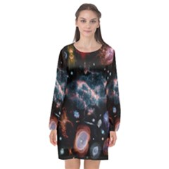 Galaxy Nebula Long Sleeve Chiffon Shift Dress  by Celenk