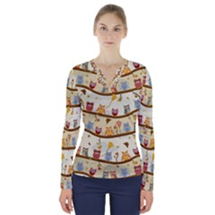 Autumn Owls Pattern V Neck Long Sleeve Top by Celenk