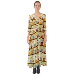 Autumn Owls Pattern Button Up Boho Maxi Dress by Celenk