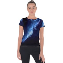 Nebula Short Sleeve Sports Top  by Celenk