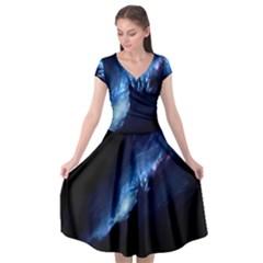 Nebula Cap Sleeve Wrap Front Dress