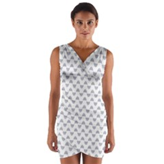 Wave Pattern White Grey Wrap Front Bodycon Dress by Cveti