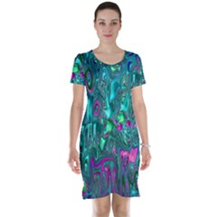 Melted Fractal 1c Short Sleeve Nightdress by MoreColorsinLife