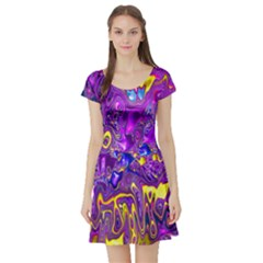 Melted Fractal 1a Short Sleeve Skater Dress by MoreColorsinLife